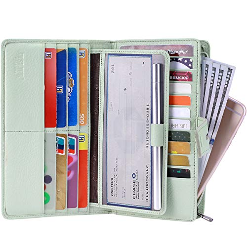 Itslife Women's Big Fat Rfid Leather wallet clutch organizer checkbook holder (Light Green)