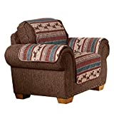 Quilted Western Mustang Furniture Protector Cover, Brown, Chair
