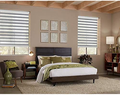 Keego Motorized Window Blinds Zebra Blinds, Free-Stop Cordless Horizontal Window Blind, Day and Night Dual Layer Roller Shades for Smart Home – Remote Control Battery Rechargeable – Grey 36 W x 72 H