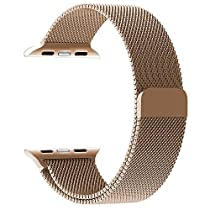 Apple Watch Band, with Unique Magnet Lock, JETech 38mm Milanese Loop Stainless Steel Bracelet Strap Band for Apple Watch 38mm All Models No Buckle Needed - Rose Gold