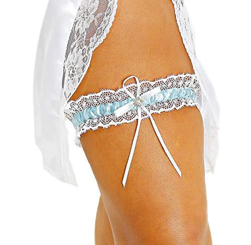 LR Bridal Blue with White Lace Trim Wedding Bridal Garter with Rhinestone Satin Bow for Brides