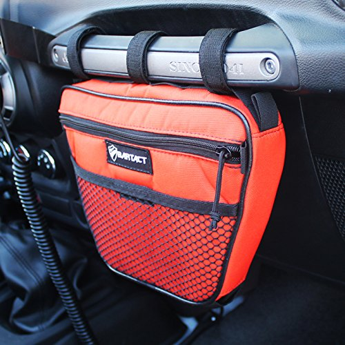Bartact Universal Jeep Wrangler JK,TJ,YJ,CJ Passenger Grab Handle UV Protected Polyester Dash Bag-Pouch (Orange) Dash Handle