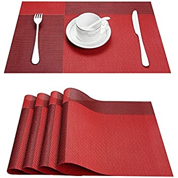 Top Fine Eco Friendly Colorful Plaid Mats Placemats Washable Heat Resistant  For Dining Table
