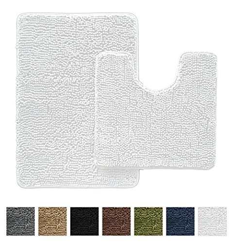Gorilla Grip Original Shaggy Chenille Bathroom 2 Piece Rug Set Includes Mat Contoured for Toilet and 30 x 20 Carpet Rugs, Machine Wash/Dry, Perfect Plush Mats for Tub, Shower and (Contact Point Set)