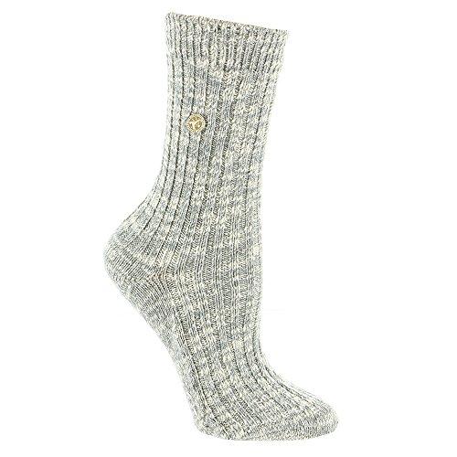 Blend Plain Toe Knee Boots - Birkenstock Cotton Slub Sock (Grey/White)