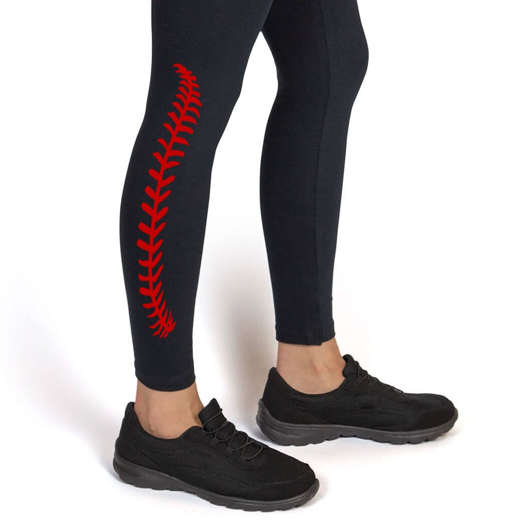 Baseball Stitches Leggings | Baseball Leggings by ChalkTalk SPORTS | Multiple Colors | Youth To Adult Sizes bs-01381