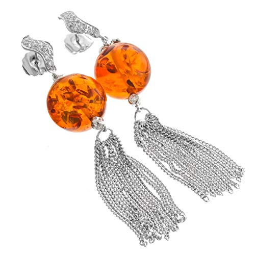Sale! 3 1/8'' Opulent Amber Gemstone Dangling 925 Sterling Silver Drop Earrings YE-183