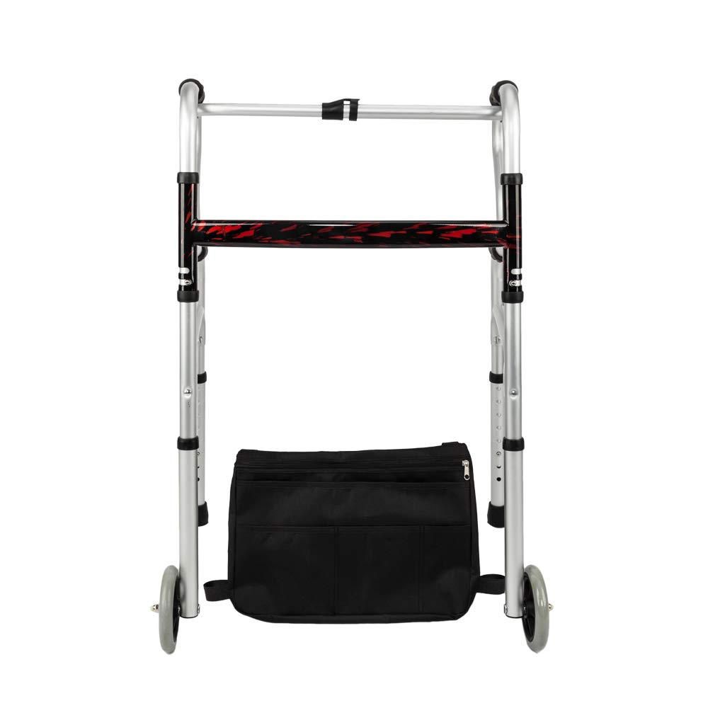 Mefeir CST4026 Folding Double H Rod Walker with Wheels and Storage Bag, Lightweight, Adjustable Height, Mobility Aid, Ultra Convenient, for Seniors, Patients, Disability