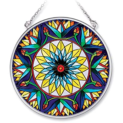 Amia Handpainted Glass Blue Lotus Suncatcher, 4-1/2-Inch: Home & Kitchen