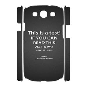 3D Okaycosama Funny Samsung Galaxy S3 Case Funny 119 for Boys, Samsung Galaxy S3 Case I9300 Shockproof, [White]
