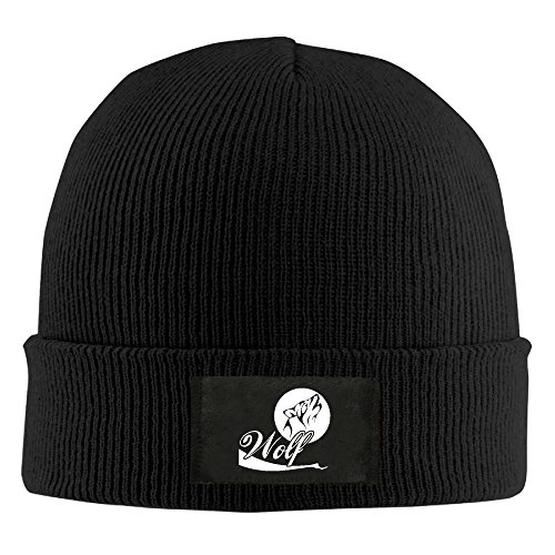 HR Adult's Wolf Moon Elastic Knitted Beanie Cap Winter Warm Skull Hats
