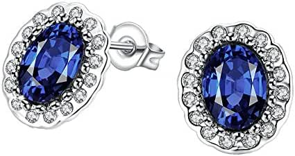Platinum or Gold-Plated Sterling Silver Sapphire Zirconia Oval-Cut Halo Stud Earrings