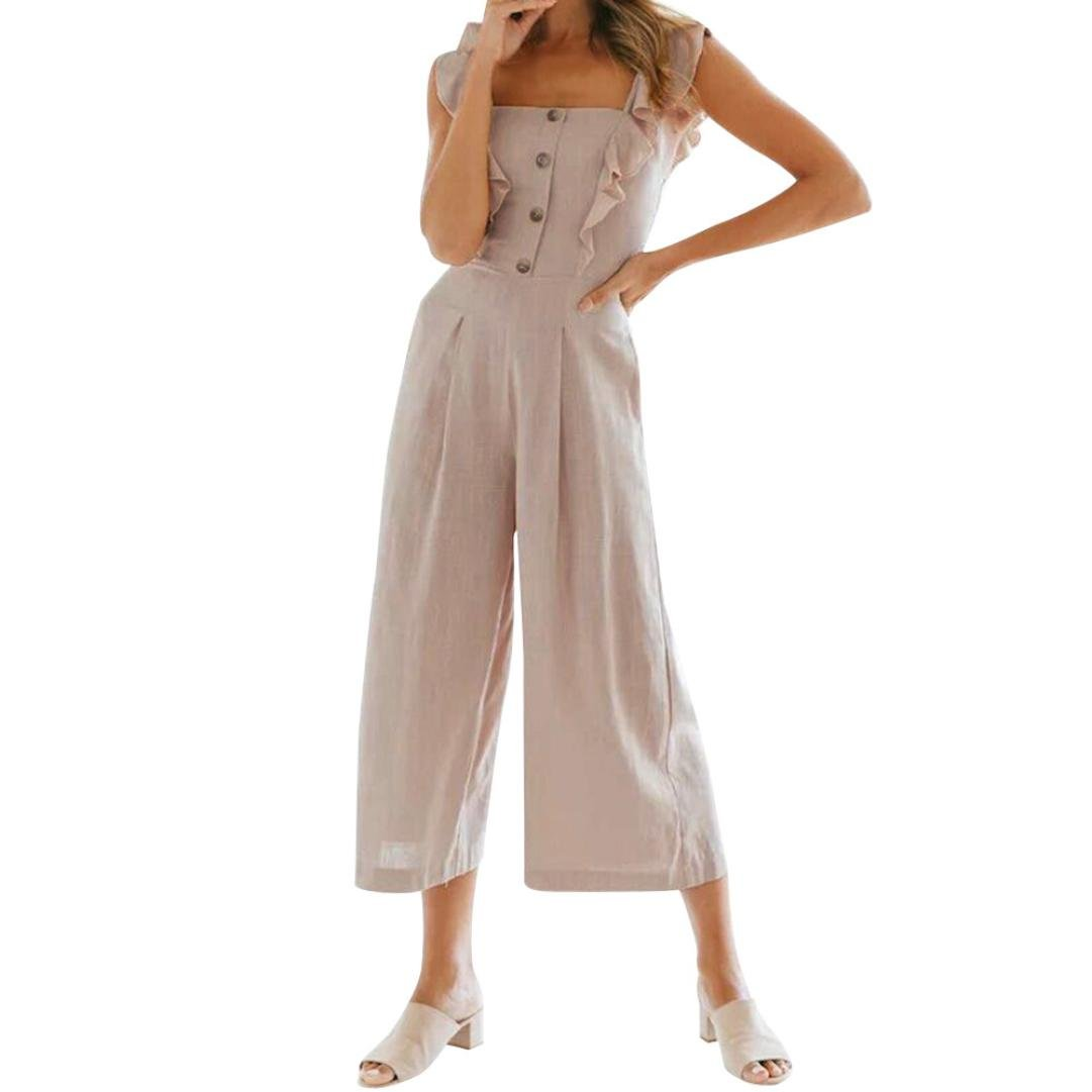 RAISINGTOP Women Solid Button up Sleeveless Jumpsuit Casual Clubwear Wide Leg Pants Long Rompers Outfit Loose Fit