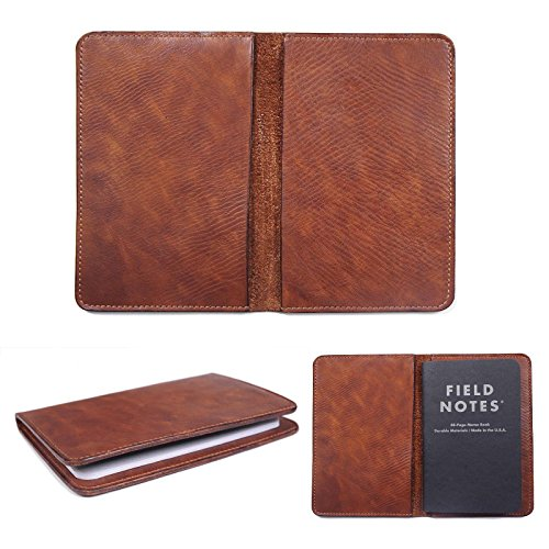"Marycrafts Handmade Refillable Leather Composition Notebook Moleskine Cover, Field Note Covers 3.5""x5.5"" Brown"