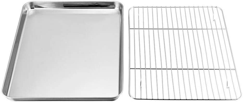 Oven Tray with Rack Set,Stainless Steel Baking Sheet with Nonstick Cooling Rack Set, 26x20x2.5cm,Dishwasher Safe