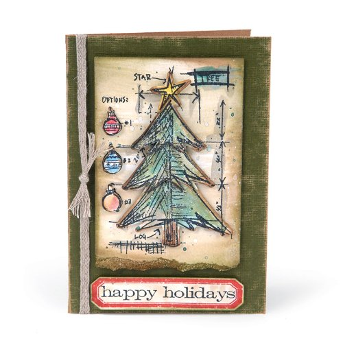 amazoncom sizzix framelits dies 6pkg with clear stamps by tim holtz christmas tree blueprint home kitchen