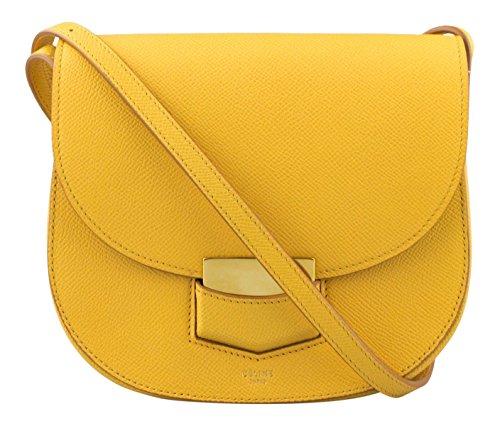 CELINE Amber Grained Calfskin Leather Small Trotteur Shoulder Handbag (Bag Grained Leather)