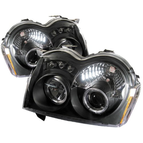 LED Halo Headlights for Jeep Grand Cherokee 05-07 - Black / Clear Lens