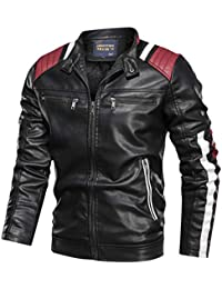 Leather Jackets for Men Baseball Coat Vintage Stand Collar Zip Motorcycle Biker Bomber Jacket
