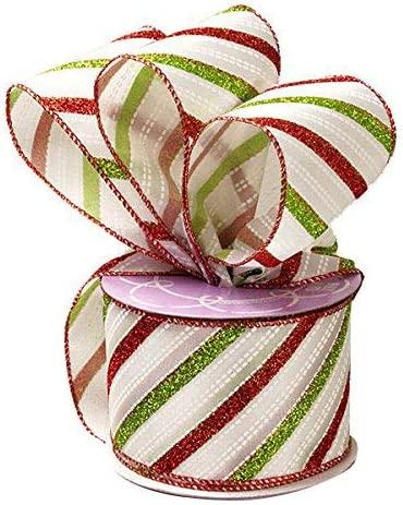 WIRED CHRISTMAS RIBBON BY THE YARD GREY SATIN  /& FLOCKED TREES