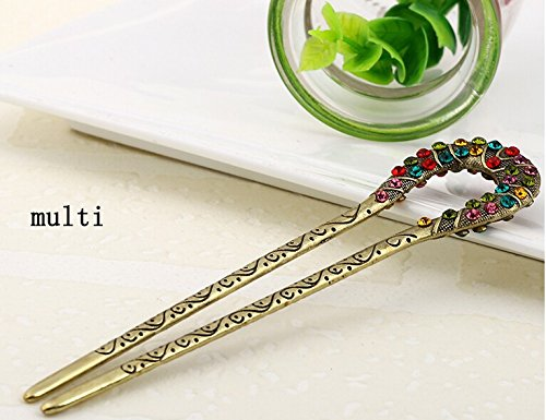 Hair Sticks Pins Jewelry (,5 Colors,crystal Antique Flower Hair Forks,hair Sticks,hair Chopsticks,wedding Hair Jewelry 2pieces/package (multi))