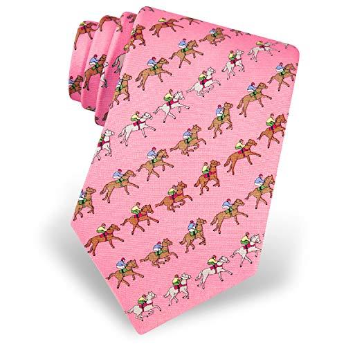 Mens 100% Silk Pink Win Place Show Horse Racing Kentucky Derby Tie Necktie