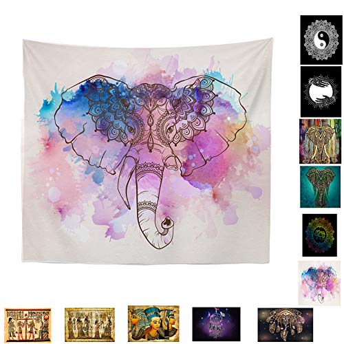 """Sivaha 1pc Elephant Tapestry Wall Hanging,Tapestry Pink Mandala Tapestry Wall Tapestry Psychedelic Hippie Bohemian Tapestry Watercolor Colorful Elephant for Dorms Decor 51""""x 59"""",Elephant"""