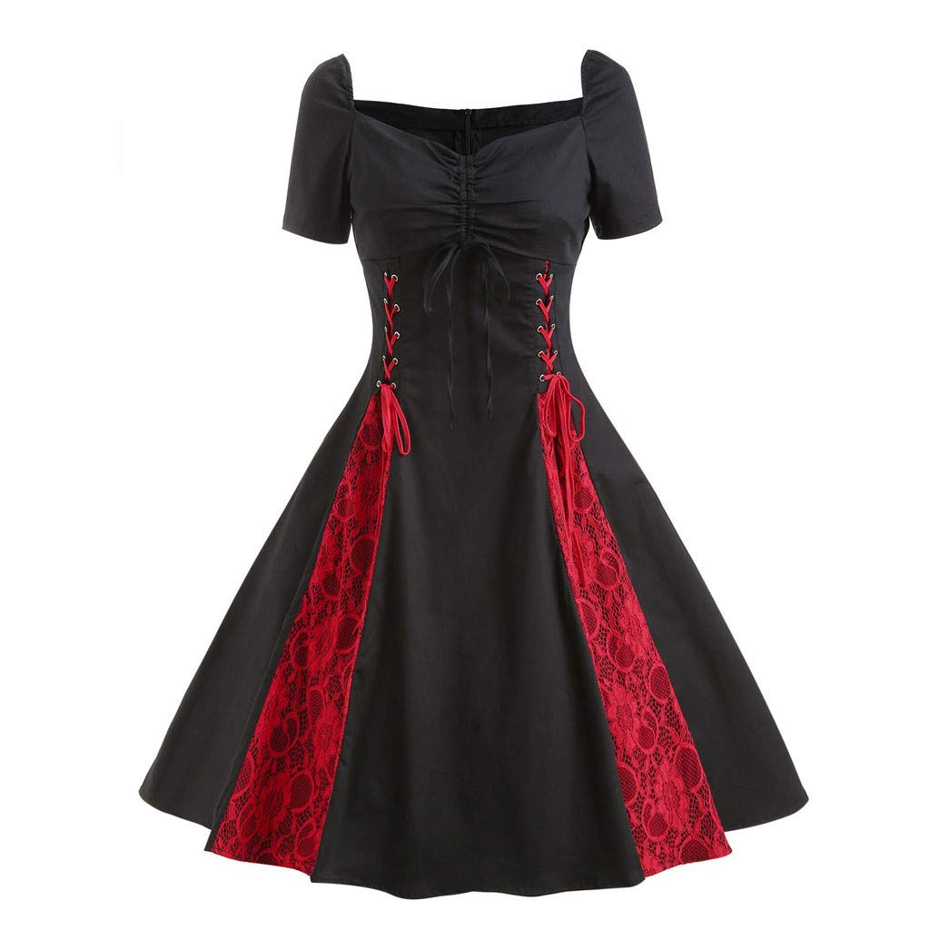 Bell Dresses for Women Short Sleeve Gothic Lace Prom Tube Front Bow Decor Swing Punk Dress Black by Doad Women's Dresses