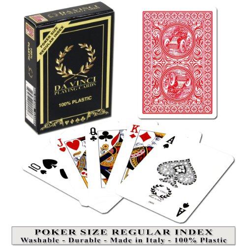 DA VINCI Classico Red, Italian 100% Plastic Playing Cards, Poker Size Regular Index