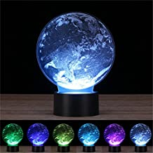 New Style Moon 3D Laser engraving Night Light Thouch Table Desk Lamp &USB,Crenye 7 colors change for Holiday gifts (Earth)