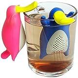 HelpCuisine infusore per tè /filtro per tè, Infusore per te e tisane a forma di Ornitorinco, design simpatico ed originale si adatta a tutte le tazze, silicone 100% alimentare privo di BPA, Set da 2 Infusori(Rosa e Blu), Novità 2017 !