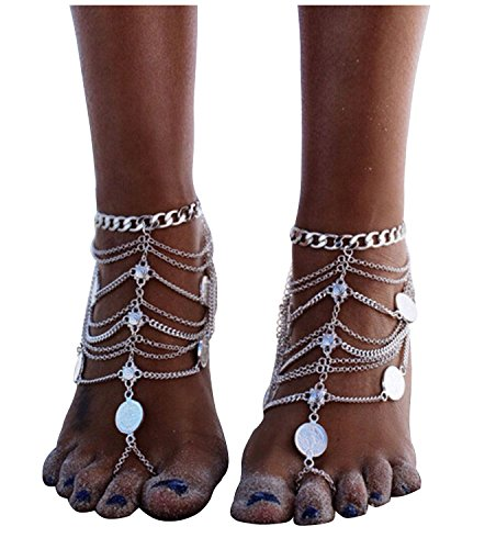 Pearlplus 1 Pair Vintage Boho Anklet Foot Jewelry Barefoot Sandals Indian Chain Ankle Bracelet for Women