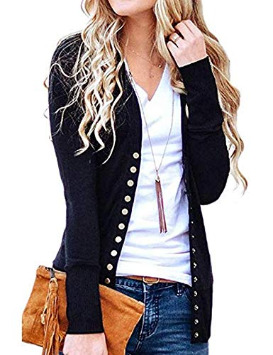 Weilim Women's V-Neck Button Down Knitwear Long Sleeve Casual Cardigans Sweater Black XL
