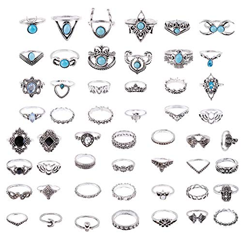 MeiMeiDa 13-52 Pcs Vintage Knuckle Ring Set - Opal and Turquoise Joint Knuckle Rings for Women Girls Bohemian Five Finger Stackable Midi Rings Set Hollow Carved Flowers (52)