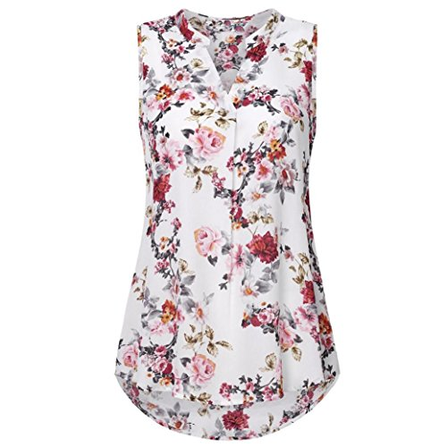 NREALY Women Summer Soild Sleeveless Flower Print V Neck Daily Vest Tank Tops Blouse White