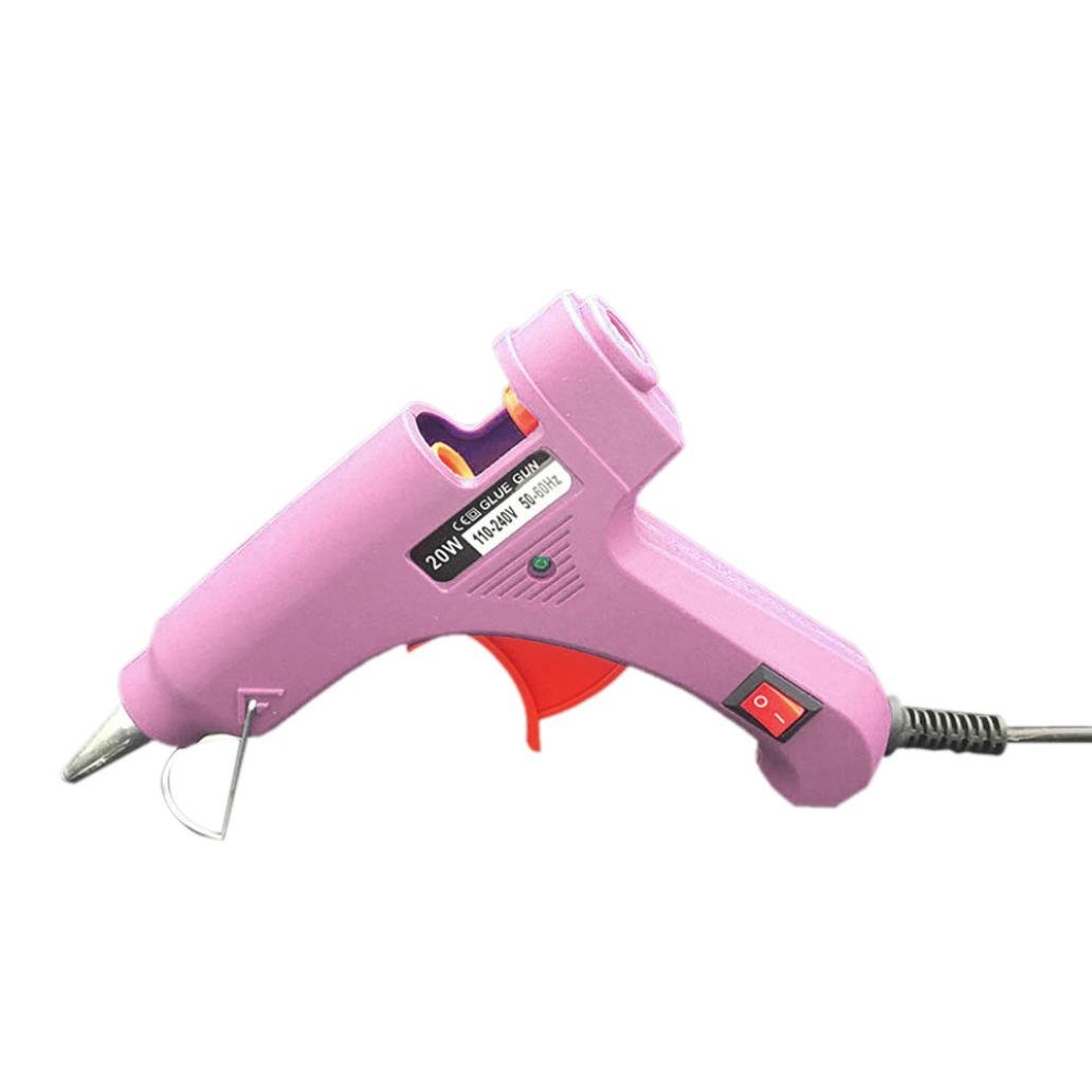 ManxiVoo 20W Safe Hot Melt Glue Gun with Rapid Heating Technology Flexible Trigger for DIY Small Arts Craft Projects Household Sealing and Quick Repairs Tool EU (Pink)