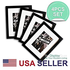 The Display Guys~ 4 Sets 11x14 Sets Matte Black Solid Pine Wood Photo Frame, Tempered Glass, Luxury Made Affordable, with White Core Mat Boards for 8x10 Picture + Collage Mat Boards for 2-5x7 Pictures