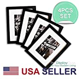 THE DISPLAY GUYS 4 Sets 11x14 Sets Matte Black Solid Pine Wood Photo Frame, Tempered Glass, Luxury Made Affordable White Core Mat Boards 8x10 Picture + Collage Mat Boards 2-5x7 Pictures