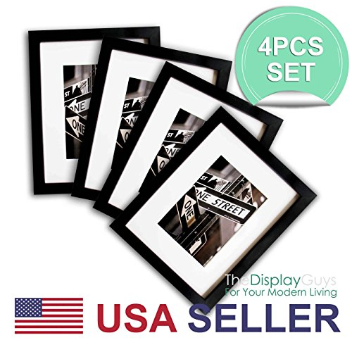 The Display Guys 4 Sets 11x14 Sets Matte Black Solid Pine Wood Photo Frame, Tempered Glass, Luxury Made Affordable White Core Mat Boards 8x10 Picture + Collage Mat Boards 2-5x7 Pictures ()