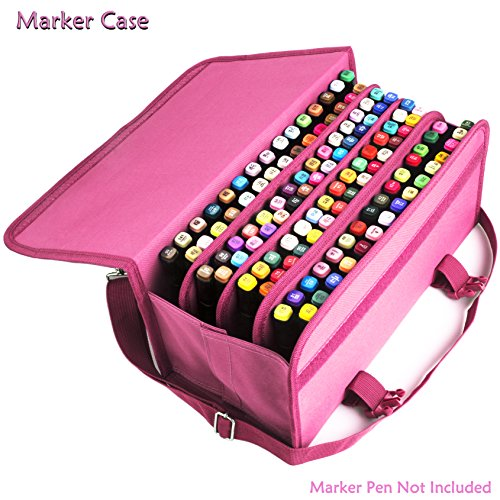 advcer-marker-case-120-storage-holders-foldable-velcro-oxford-organizer-with-carrying-handle-shoulde