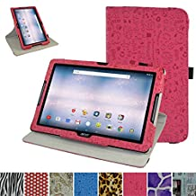 "Acer Iconia One 10 B3-A30 Rotating Case,Mama Mouth 360 Degree Rotary Stand With Cute Lovely Pattern Cover For 10.1"" Acer Iconia One 10 B3-A30 Android Tablet, Rose Red"