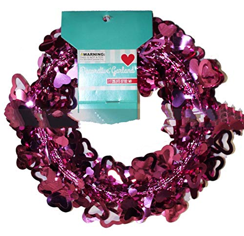 Garland Wire Heart (Hanging Decorations Tinsel Valentine Day Pink Heart Outlines 25 ft Wire Garland)