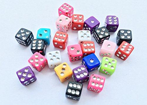 - 50pcs 7mm Cube Square Dice Resin Flat Back Cabochons Scrapbooking Beads F034x2 ()