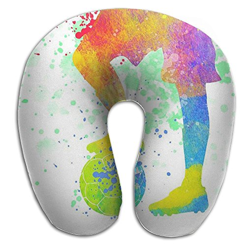 U Neck Pillow Soccer Kid Airplane Office Travel Memory Foam U Shape Pillow by GEOHJD