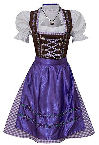 3 teilig Midi Dirndl Trachtenkleid Oktoberfest Trachten Kleid Bluse Schürze Set Lila-Braun