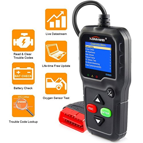 OBDII Automotive Code Reader KONNWEI KW680 OBD2 Car Diagnostic Scanner Full OBD2/EOBD Functions Car Scan Tool Vehicle Engine Fault Scanners With Extra BAT Check, O2 Sensor, On-board Monitoring Test