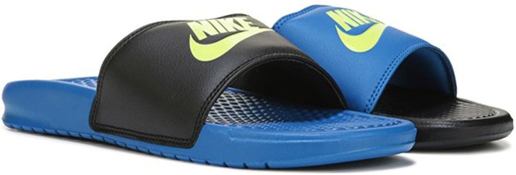 b0f28fb2f Amazon.com | Nike Men's Benassi JDI Mismatch - Black/Volt-Blue Spark ...