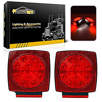 Partsam Square led Trailer Tail Lights