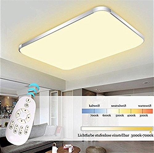 EtimeR LED Deckenleuchte Dimmbar Deckenlampe Modern Wohnzimmer Lampe Schlafzimmer Kche Panel Leuchte 2700 6500K Mit Fernbedienung Silber 65x43cm 48W