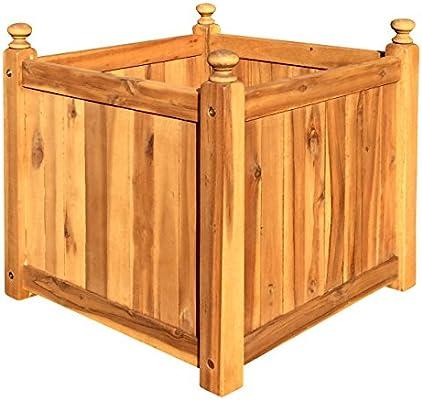 Click-Deck Hardwood Tiles Madera Jardín Maceta Contenedor Cuadrado de Madera árbol Flores Pot: Amazon.es: Jardín